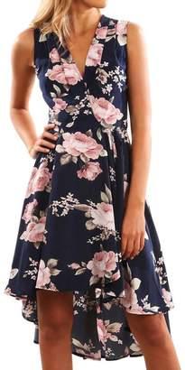 ASTV Women Summer Sleeveless Off Shoulder Floral Printed Beach Mini Dress Party Dress (,M)