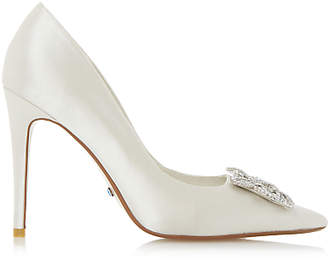 Dune Bridal Collection Breanna Jewel Stiletto Court Shoes, Ivory Satin