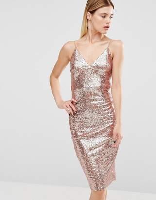 Club L Rose Gold Sequin Cami Strap Midi Dress $38 thestylecure.com
