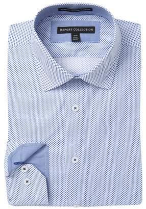 Report Collection Slim Fit Diamond Print Dress Shirt
