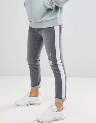 Le Breve Skinny Fit Side Stripe Distressed Jeans