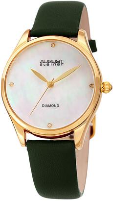 August Steiner Women's Diamond Marker Leather Watch