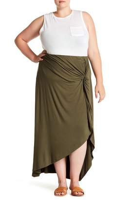 Bobeau Hi-Lo Twist Front Skirt (Plus Size)