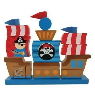 Stephen Joseph NEW Pirate Wooden Stacking Puzzle Set