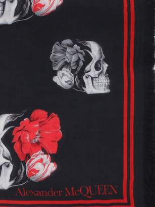 Alexander McQueen Flowers And Skull Print Scarf