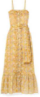 Lisa Marie Fernandez Belted Ruffled Floral-print Cotton-voile Maxi Dress - Saffron