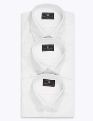 M&S CollectionMarks and Spencer 3 Pack Cotton Blend Regular Fit Shirts