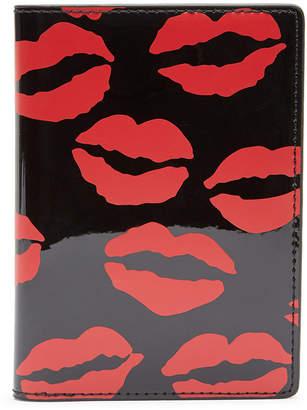 Lulu Guinness Lip Blot Passport Holder - Black/Red
