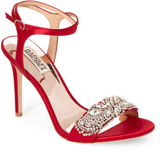 Badgley Mischka Red Hailey Embellished Ankle Strap Sandals