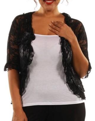 24/7 Comfort Apparel Women's Plus Lace Bolero Cardigan Shrug