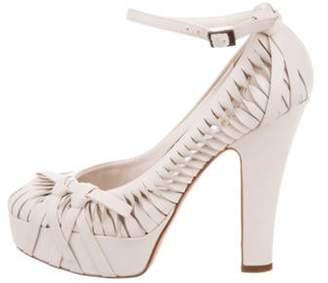 Christian Dior Ankle Strap Platform Pumps silver Ankle Strap Platform Pumps