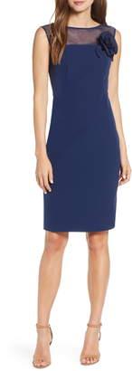 Harper Rose Illusion Bateau Neck Laguna Crepe Dress