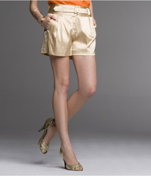 Belted Silk Shorts