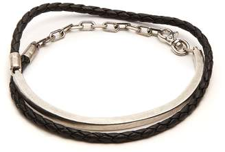 TITLE OF WORK Leather and sterling-silver wraparound bracelet