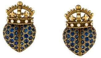 Kieselstein-Cord Sapphire & Diamond Crown Heart Earrings