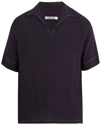 Hecho - Open Collar Ribbed Silk Blend Shirt - Mens - Navy