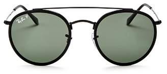 Ray-Ban Unisex Polarized Brow Bar Round Sunglasses, 51mm