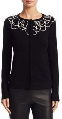Saks Fifth Avenue COLLECTION Cashmere Pearl Embellished Cardigan