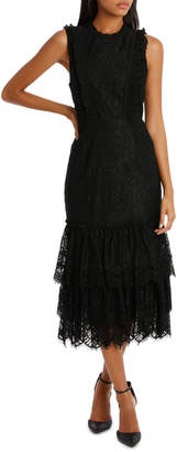 Black High Neck Lace Tiered Midi Dress