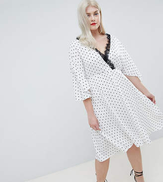 Asos DESIGN Curve spot lace trim kimono midi dress