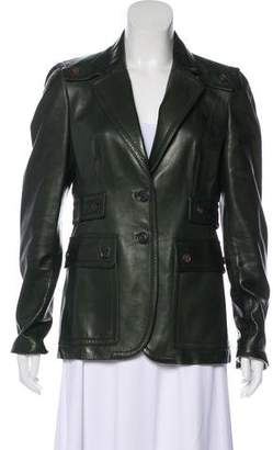 Gucci Leather Notch-Lapel Blazer