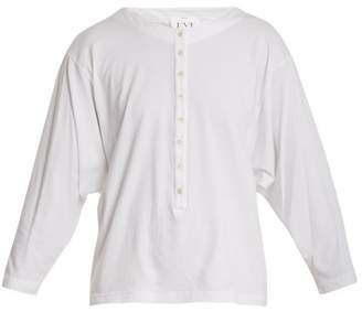 Eve Denim - Camille Button Down Cotton Henley Top - Womens - White
