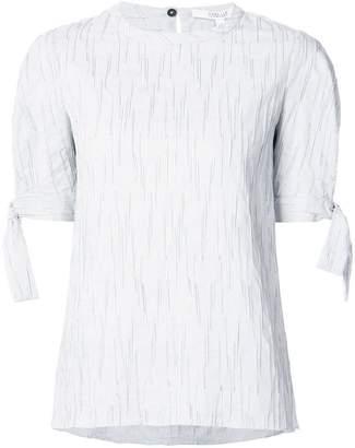 Derek Lam 10 Crosby Short Sleeve Crewneck Top With Tie Detail