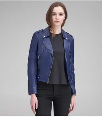 6aee6e2a7 Women's Navy Blue Leather Jacket - ShopStyle