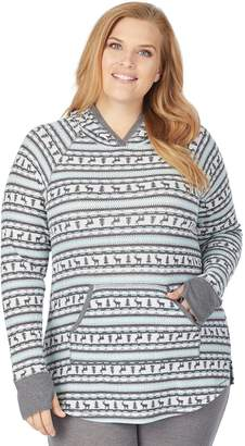 Cuddl Duds Plus Size Stretch Thermal Long Sleeve Hoodie Tunic