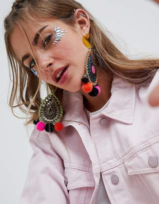 Asos Design DESIGN Resin And Jewel Cut Out Disc Pom Earrings