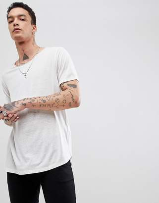 Asos Design DESIGN relaxed longline t-shirt with raw scoop neck and curve hem in linen mix in ecru