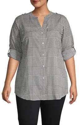 Calvin Klein Plus Roll-Sleeve Glen Plaid Shirt