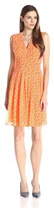 Anne Klein Women's Polka Dot V-Neck Flare Dress