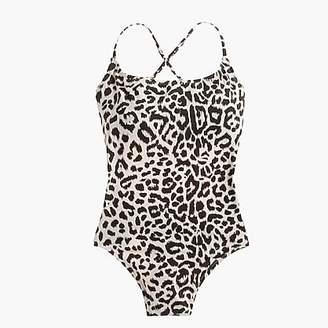 J.Crew Tie-back one-piece swimsuit in leopard print