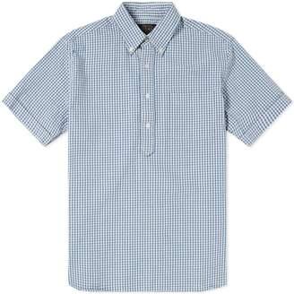 Beams Short Sleeve Popover Indigo Seersucker Shirt