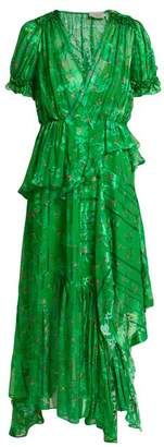 Preen by Thornton Bregazzi Jayma Floral Devore Silk Blend Dress - Womens - Green Multi