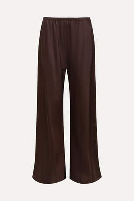 The Row Gala Satin Wide-leg Pants - Dark purple