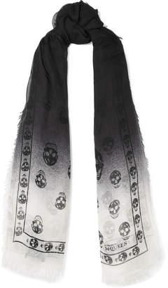Alexander McQueen Printed Dégradé Modal And Cashmere-blend Scarf - Black