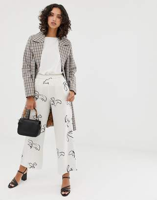 Selected printed wide leg trousers with elasticated waist