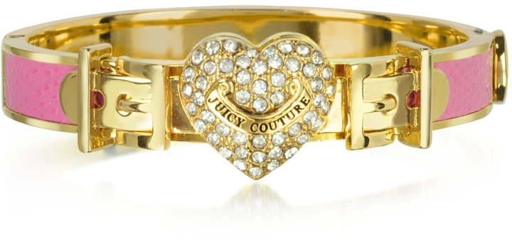 Juicy Couture Pave Heart Thin Leather Bangle