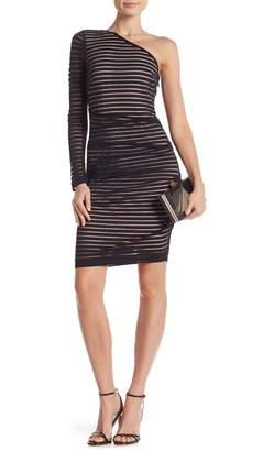 Nicole Miller Stripe One-Shoulder Dress