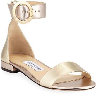 Jimmy Choo Jaimie Flat Metallic Sandals