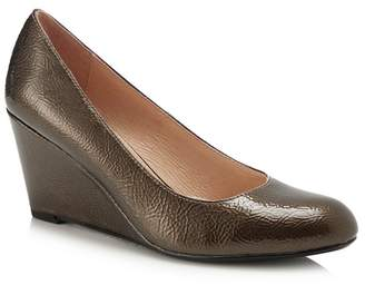 Lotus Brown Patent 'Cache' High Wedge Heel Pumps