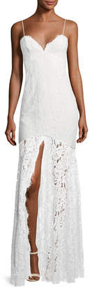 Fame & Partners Babe Lace Front-Slit Sleeveless Dress