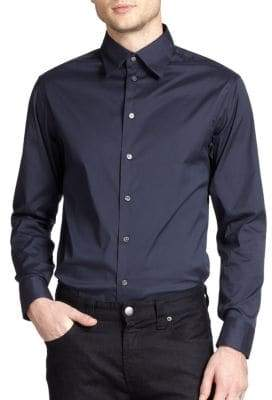 Armani Collezioni Solid Stretch Button-Down Shirt