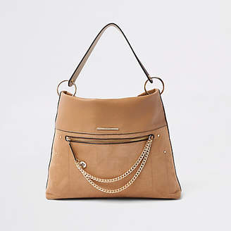 River Island Beige zip front chain front slouch bag