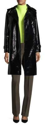 Diane von Furstenberg Faux Leather Trench Coat