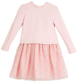 Charabia Long-Sleeve Knit Top Dress w/ Tulle Skirt, Size 2-8