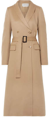 Gabriela Hearst Joaquin Double-breasted Pleated Cashmere Coat - Beige