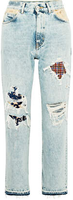 Golden Goose Komo Distressed Patchwork High-rise Straight-leg Jeans - Light denim